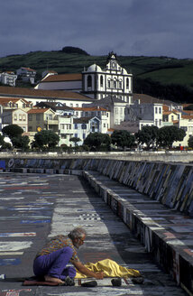 Painted quay wall in Horta, Azores - 00059HS