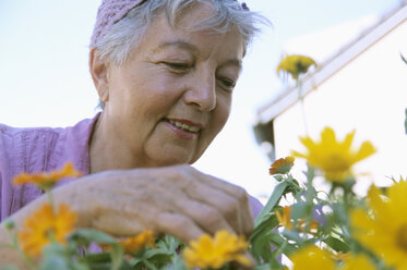 Senior woman gardening, low angle view - PEF00326