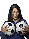 Woman with Italian Flag painted on her face,  holding footballs pouting - LMF00040