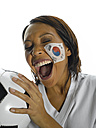 Woman with Corean Flag painted on her face - LMF00043