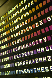 Arrival-Departure board at Frankfurt/M  Airport,Germany, close-up, low angle view - THF00126