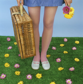 Young woman carrying picnic basket, low section - JLF00064