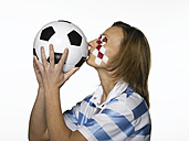 Football fan with Croatian flag painted on face - LMF00410