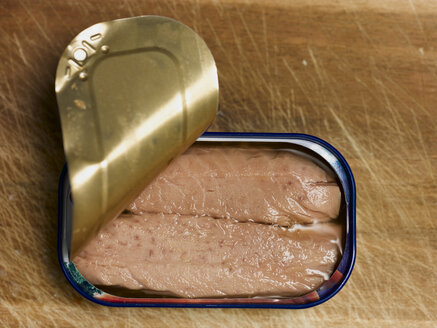 Can of tuna fish, close-up, elevated view - KMF00012
