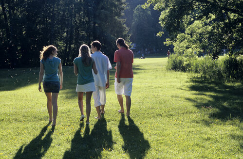 Four young people walking in park, rear view - WESTF01194