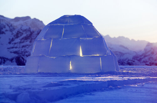 Switzerland, Toggenburg, traditional igloo in mountains - KM00165