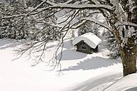 Austria, Salzburger Land, Hut in snowy landscape - HHF00479