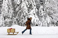 Young woman pulling sledge with Christmas gift, smiling, side view - HHF00464