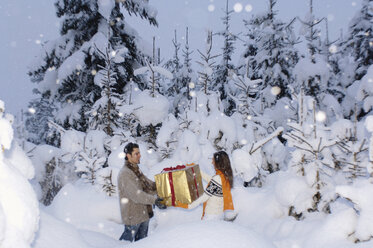 Young couple holding gift in snow - HHF00553