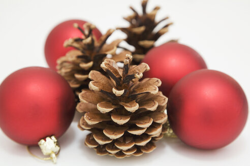 Christmas decoration with fir cone and Christmas baubles - GWF00327