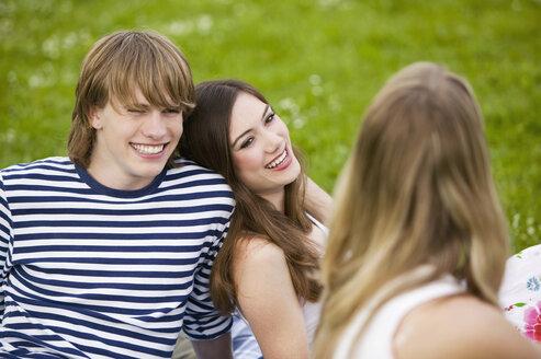 Teenagers sitting in meadow - KMF00281