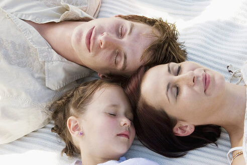 Family sleeping, elevated view - LDF00353