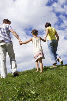 Parents with daughter, hand in hand, rear view - LDF00323