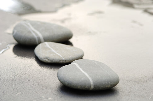 Pebbles in sand, in a row - ASF02728
