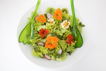 Fresh salad with edible flowers, close-up - GWF00397