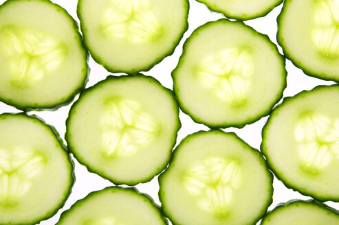 Slices of cucumber, close-up, elevated view - THF00368