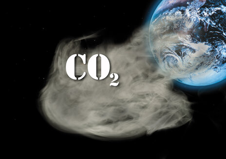 Carbon dioxide emissions and globe, digital composite - 05825CS-U