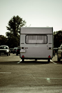 Germany, Pforzheim, Lone Trailer Home in parking lot - DW00100