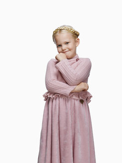Blond girl (6-8) in a dress, portrait - KMF01123