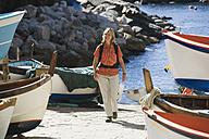 Italy, Liguria, Woman in Riomaggiore - MRF01036