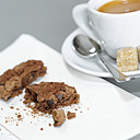 A cup of Espresso and chocolate cookies, detail - CHKF00476