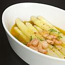 Asparagus with shrimps, close-up - CHK00866