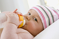 Baby boy  (6-9 months) drinking milk from bottle, portrait - SMOF00100