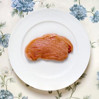 Raw escalope, pork, elevated view - MU00098