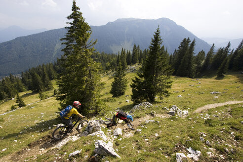 Germany, Bavaria, Kampenwand, mountainbiking - FFF00872