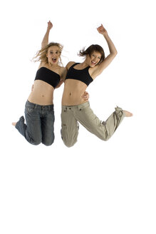 Two young women jumping in mid-air - RRF00122