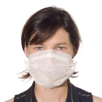 Young woman wearing a mask, portrait - MU00170