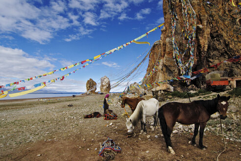 China, Tibet, Damxung, Namtso Lake, Prayer flags - MB00780