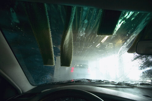 Car wash site, seen through windscreen - THF00767