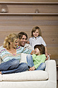 Family sitting on sofa, smiling, portrait - WESTF08118