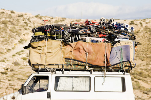 Spain, Andalusia, Car loaded with luggage - MSF02241