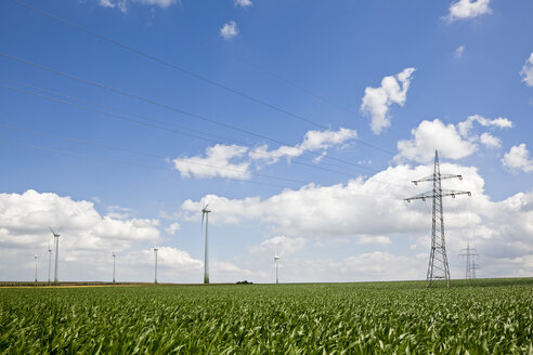 Germany, Saxony-Anhalt, Field of wind turbines and electricity pylons - FOF00776