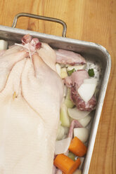 Raw duck in roasting tin, elevated view - SC00189