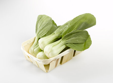 Bok choy, Chinese celery cabbage in wooden box., elevated view - KSWF00172