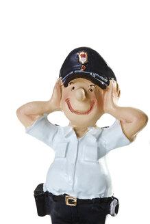Plastic Figurine of a Policeman, Hear no evil, close-up - 08742CS-U