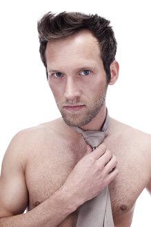 Barechested Man Wearing a Necktie, portrait - BMF00321