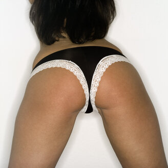Young woman wearing lingerie, rear view - MUF00603