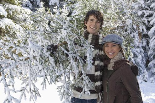 Austria, Salzburger Land, Altenmarkt, Young couple in snowscape carrying fir tree - HH02597