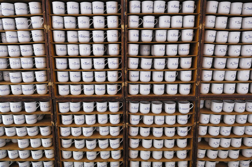 Germany, Bavaria, Munich, Auer Dult, traditional market, Names written on cups - MB00882