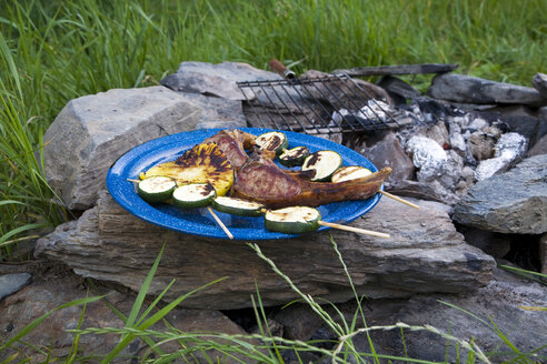 Barbecue, lamb chops and zucchini skewers - GWF00828
