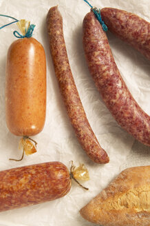 Variety of sausages, elevated view - THF00846