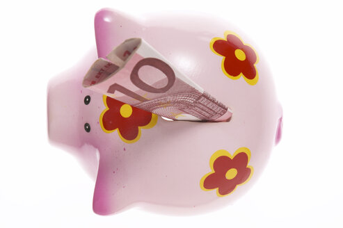 Piggy bank with Euro notes, close-up - THF00825