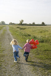 Little boy and girl (3-4) with balloons running across field path, rear view - SMOF00178