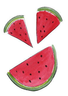 Illustration, Water melon, three pieces - KTF00013