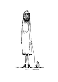 Illustration, Woman and dog looking into sky, rear view - KTF00007