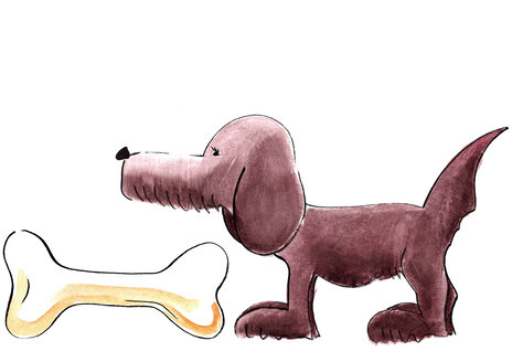 Illustration, Dog with big bone - KTF00004